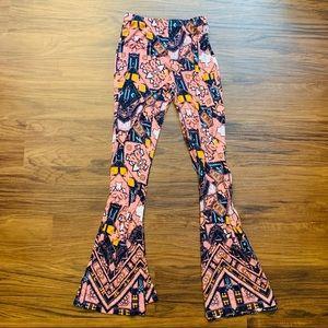 ✅ Multicolor Patterned Wide-Legged Flowy Pants XS